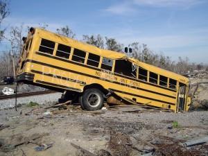 Bus damaged by Hurricane Katrina.